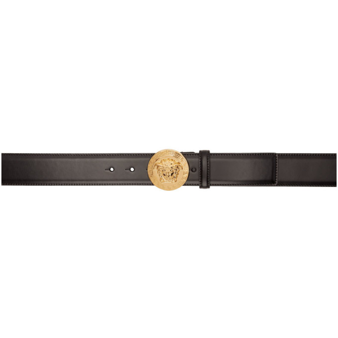 Versace VERSACE BLACK LEATHER MEDUSA BELT