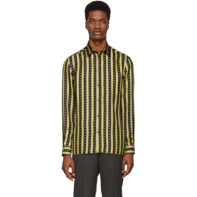 Versace ブラック & ゴールド シルク ネオ クラシカル シャツ