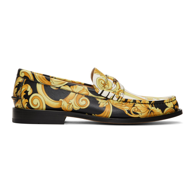 Versace Black & White Hibiscus Loafers