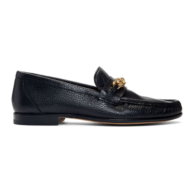 Versace Black Medusa Chain Loafers