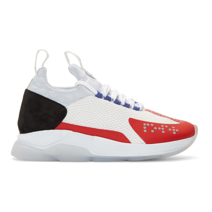 Versace Multicoloured Chain Reaction Mesh Low Top Sneakers In White