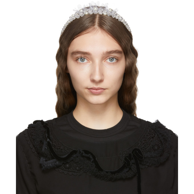 Simone Rocha Serre-tete a perles et verre taille transparent