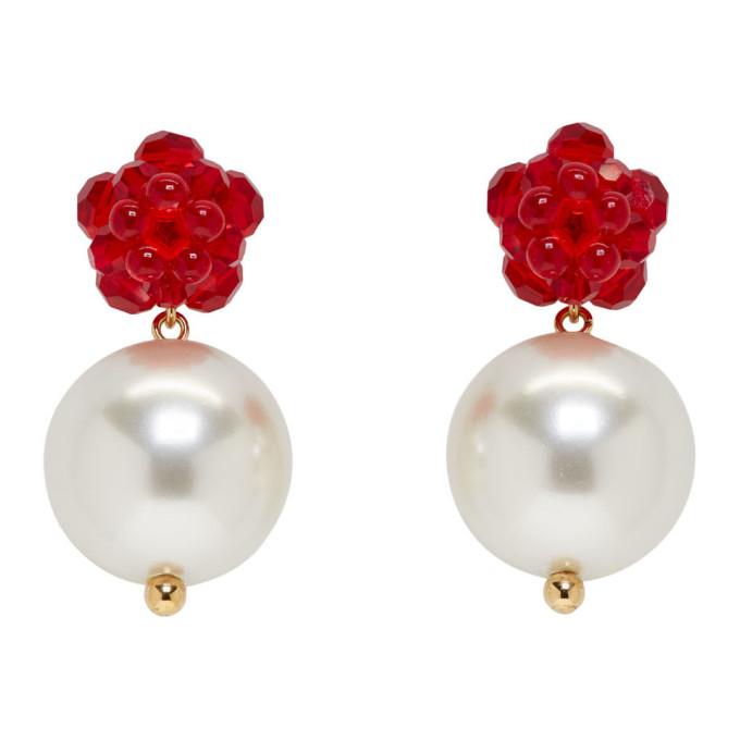 Simone Rocha Red Flower & Pearl Earrings