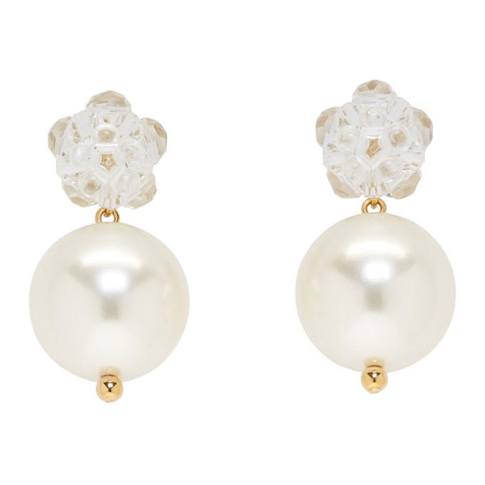Simone Rocha Transparent Flower & Pearl Earrings
