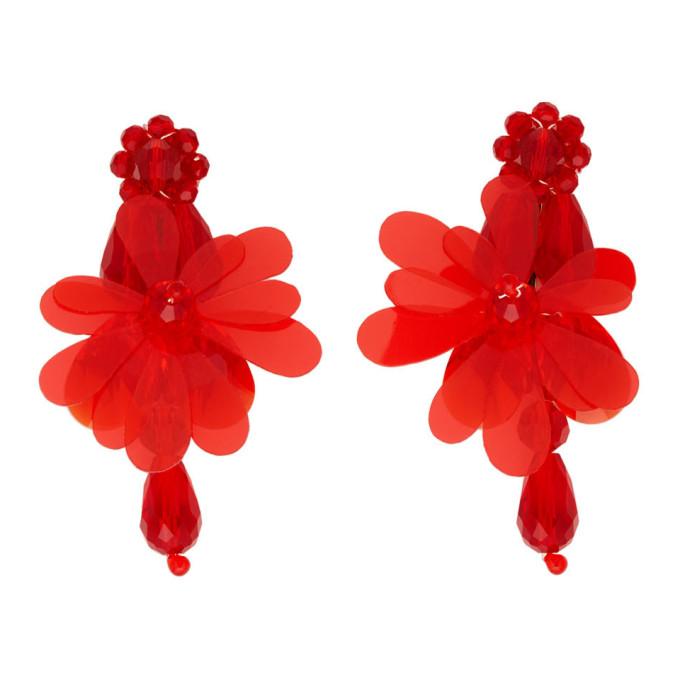 Simone Rocha Red Flower Drop Earrings