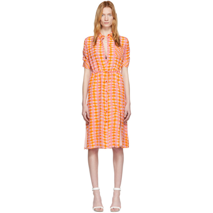 Altuzarra Dresses ALTUZARRA ORANGE CHECK PRINT DRESS