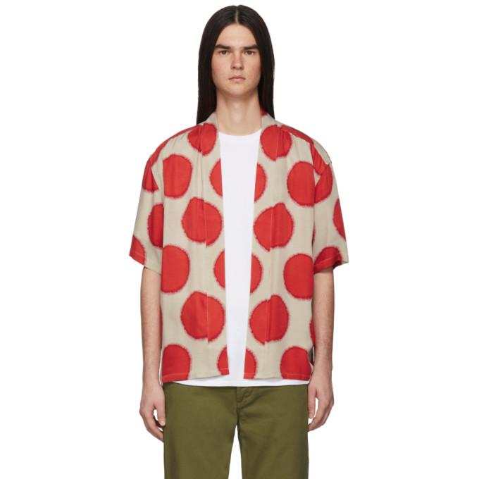 SASQUATCHFABRIX. | Sasquatchfabrix. Beige And Red Sun Dots Haori Shirt | Goxip