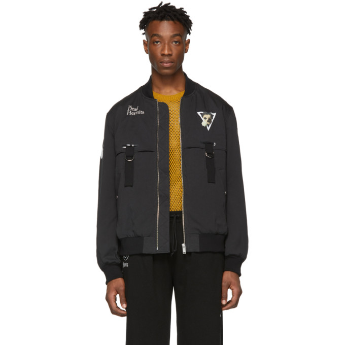 Undercover Jackets UNDERCOVER BLACK DEAD HERMITS BOMBER JACKET