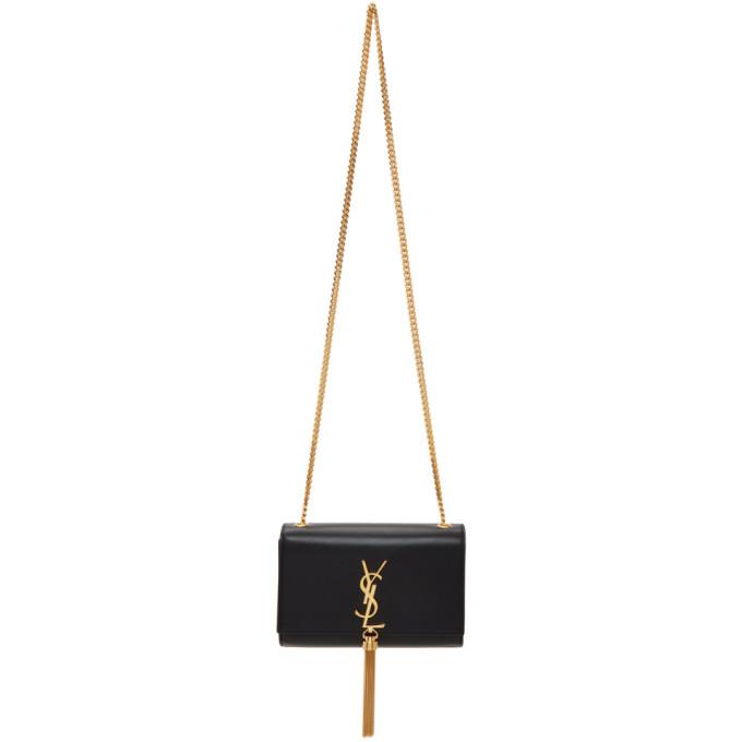 Saint Laurent ブラック スモール モノグラム ケイト タッセル バッグ