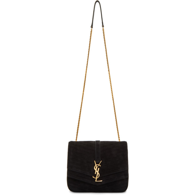 Saint Laurent Black Suede Medium Sulpice Bag