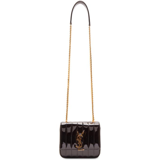 Saint Laurent Black Patent Small Vicky Bag