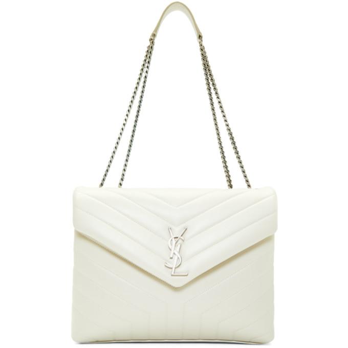 Saint Laurent Off-White Medium Lou Lou Monogramme Chain Bag