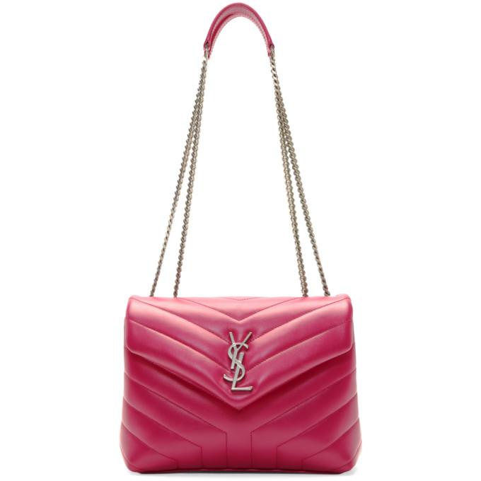 Saint Laurent Pink Small Lou Lou Monogramme Chain Bag