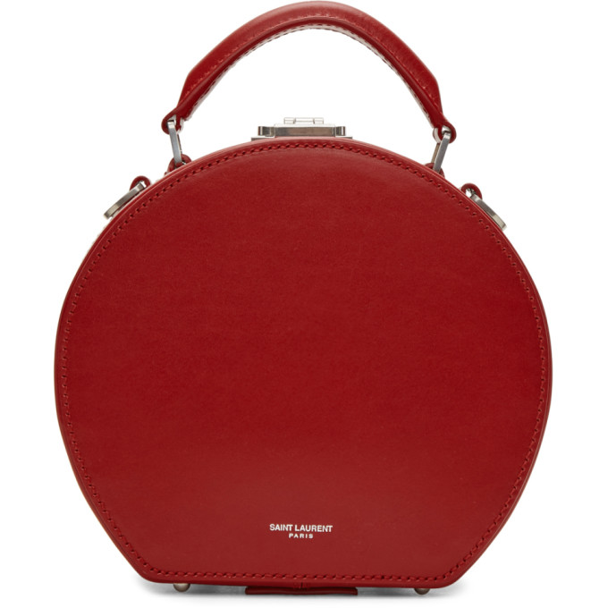 Saint Laurent Red Small Mica Hat Top Handle Bag