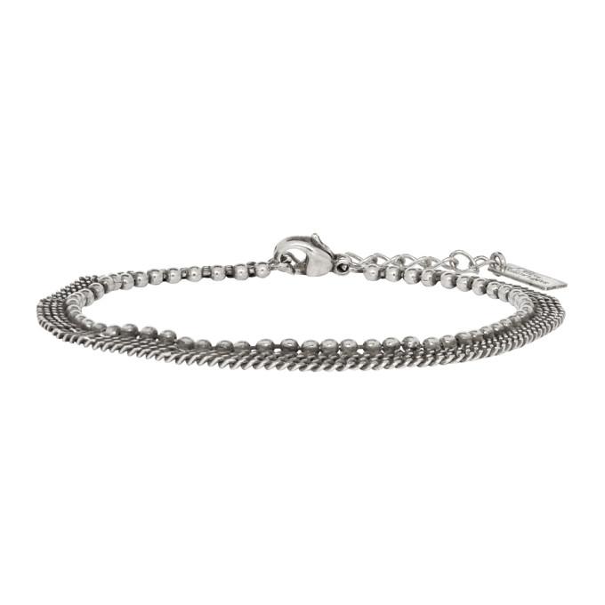 Saint Laurent Silver Three-Row Bracelet