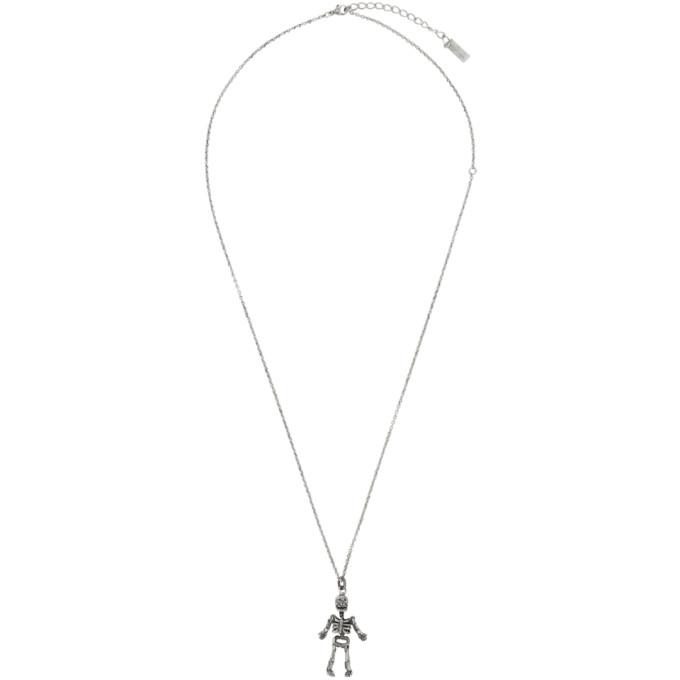 Saint Laurent Silver Skeleton Charm Pendant Necklace