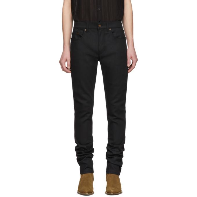 Saint Laurent Black Raw Skinny Jeans