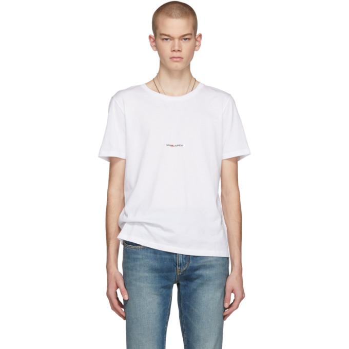 Saint Laurent White Cotton Basic T-Shirt With Logo In 9000 White