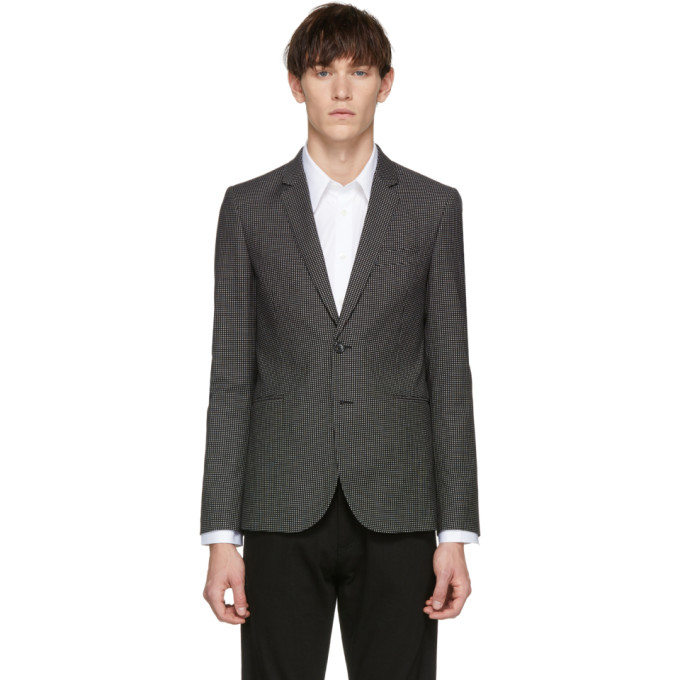 Image of PS by Paul Smith Black Check Buggy Slim Fit Blazer