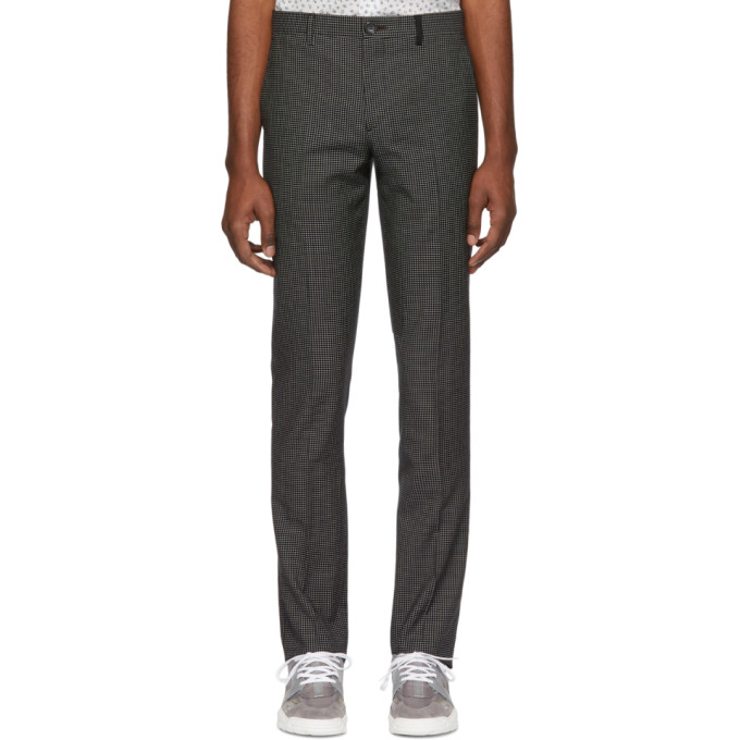 Image of PS by Paul Smith Black Check Mid Fit Trousers