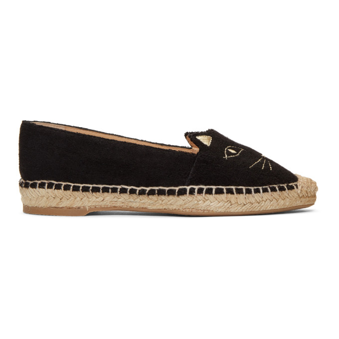 Charlotte OlympiaBlack Towelling Kitty Espadrilles