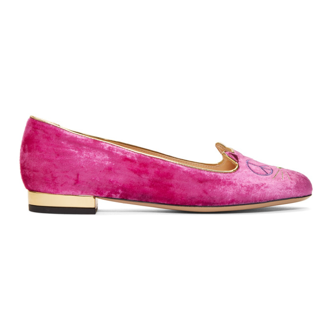 Charlotte Olympia Pink Velvet Peaceful Kitty Loafers