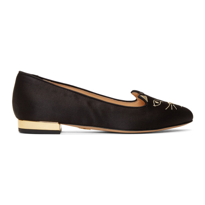 Charlotte OlympiaBlack Satin Kitty Loafers