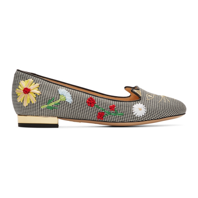 CHARLOTTE OLYMPIA   Charlotte Olympia Black And White Gingham Kitty Flats   Goxip
