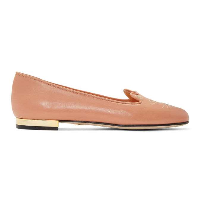Image of Charlotte Olympia Pink Nocturnal Kitty Loafers