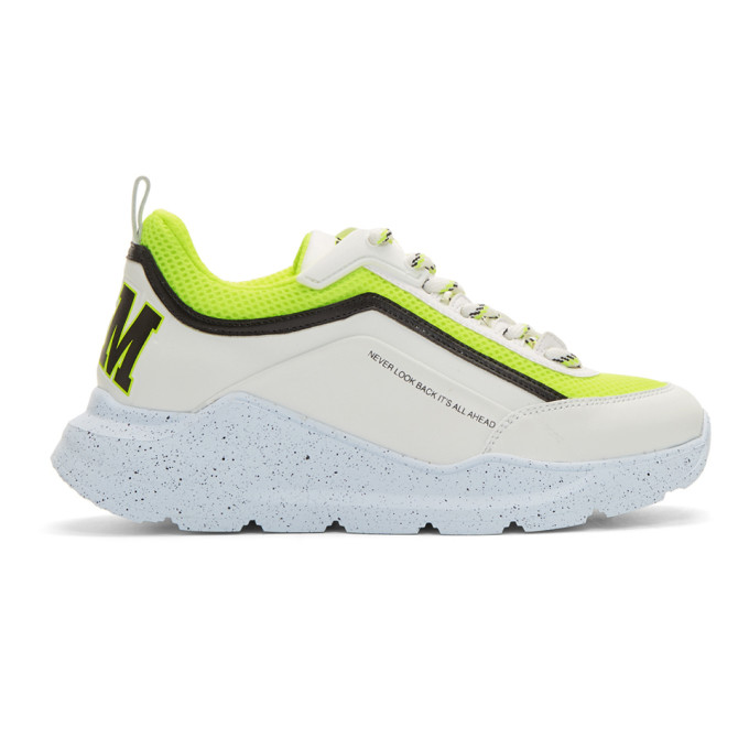 MSGM White and Yellow College Hiking Sneakers