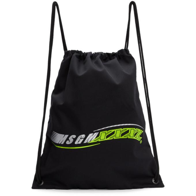 MSGM Black 'XXXL' Logo Backpack