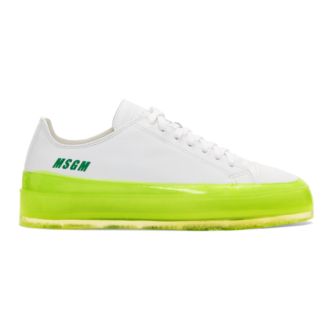 MSGM White & Yellow RBRSL Rubber Soul Edition Floating Sneakers