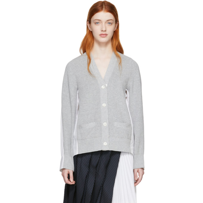 be5d015bd9 Sacai Grey And White Panelled Cardigan In L Grey Wht