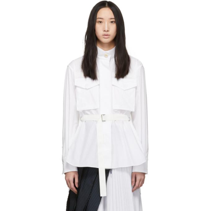 Sacai Chemise a ceinture blanche