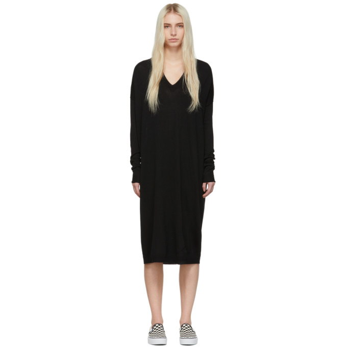 6397 Black Merino Wool V Neck Dress