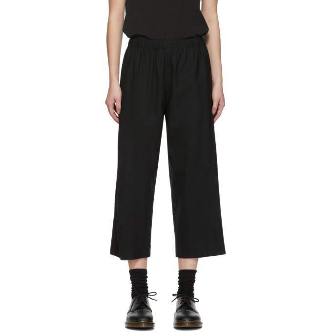 6397 Black Pull On Tropical Wool Trousers