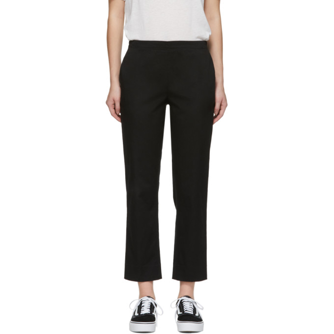 Image of 6397 Black Stretch Cotton Pull-On Trousers