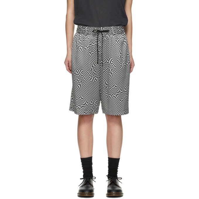 Image of 6397 Black and White Silk Print Board Shorts
