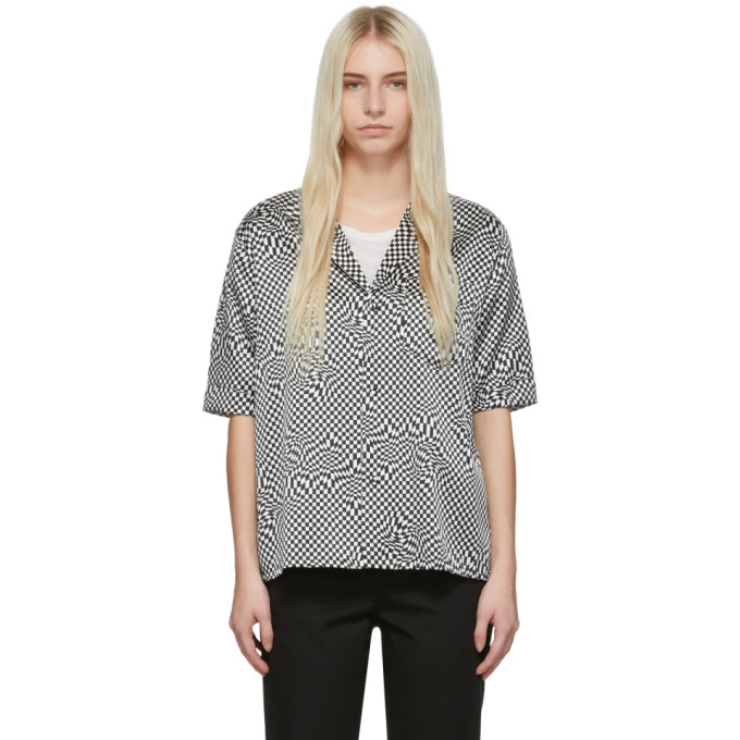 Image of 6397 Black and White Silk Printed PJ Shirt