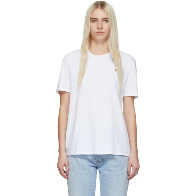 6397 White Embroidered Leaf Boy T Shirt
