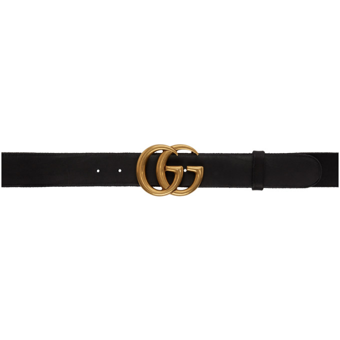 f3266f2cb1c3 Gucci Smooth Leather Belt W/ Double G Buckle In 1000 Black