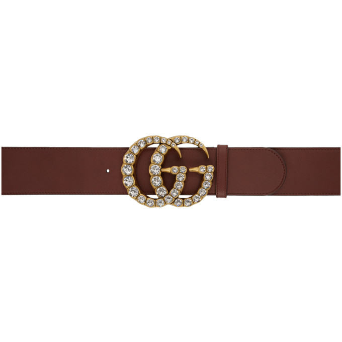 GUCCI | Gucci Burgundy Wide Leather GG Crystal Belt | Goxip