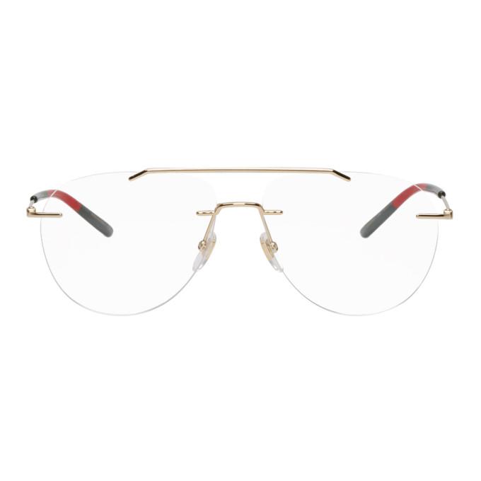 Gucci Gold Rimless Pilot Glasses