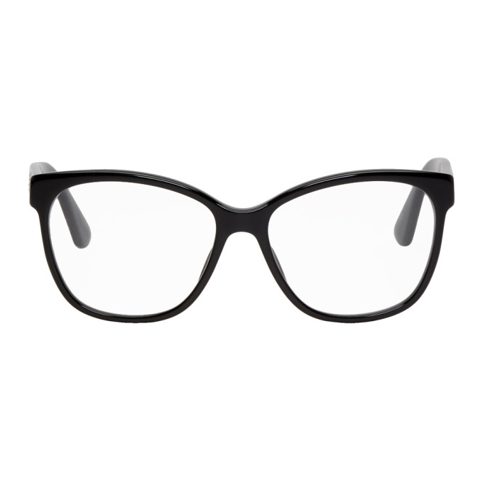 Gucci Black Crystal Logo Cat-Eye Glasses