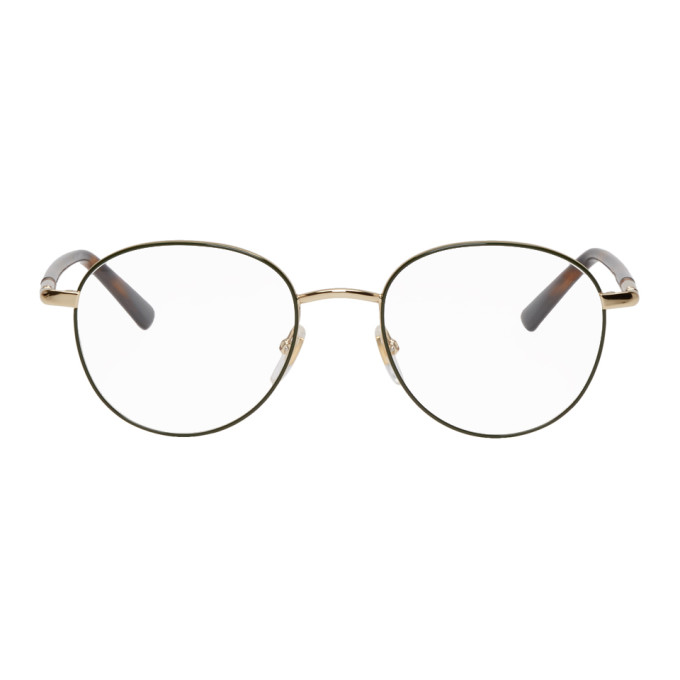 Gucci Gold & Green Round Outline Glasses