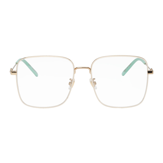 GUCCI | Gucci White And Gold Oversized Vintage Square Glasses | Goxip