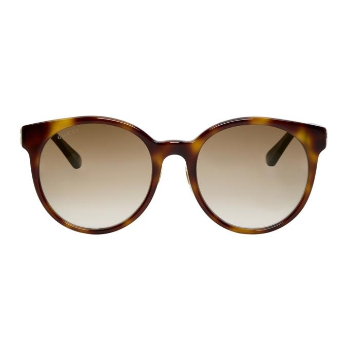 Gucci Tortoiseshell Round Striped Sunglasses