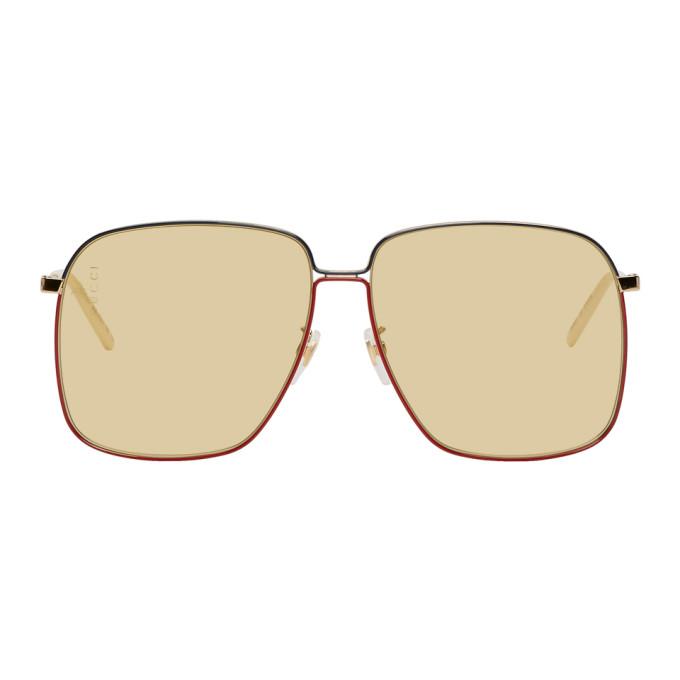 Gucci Gold & Yellow Square Sunglasses