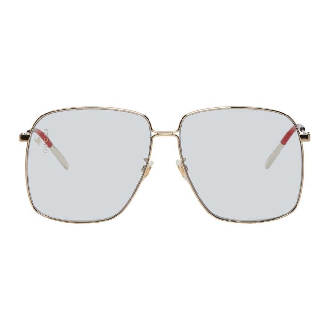 Gucci Gold & Blue Square Sunglasses