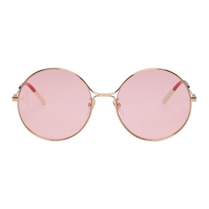 Gucci Gold & Pink Metal Aviator Sunglasses